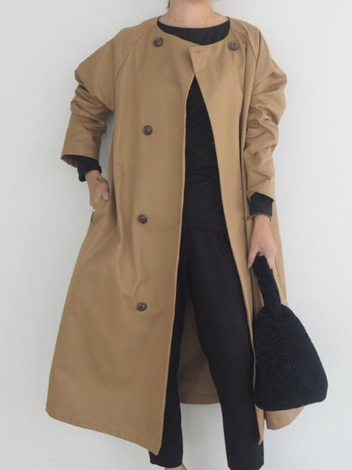 Round Neck Double-Breasted Long Casual Women's Trench Coat