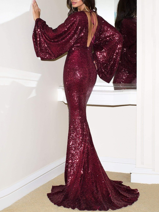 Long Sleeves V-Neck Mermaid Sequins Celebrity Dress 2019