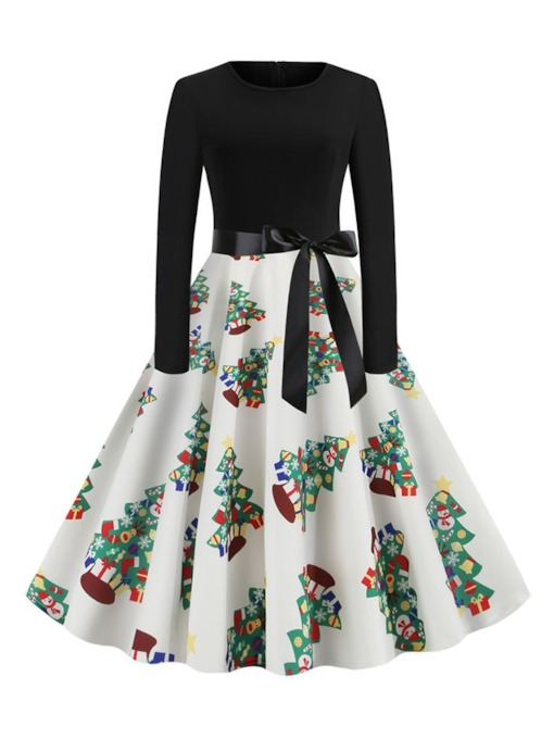 Christmas Trees Patchwork Round Neck Long Sleeve Mid-Calf Mid Waist Women's Dress