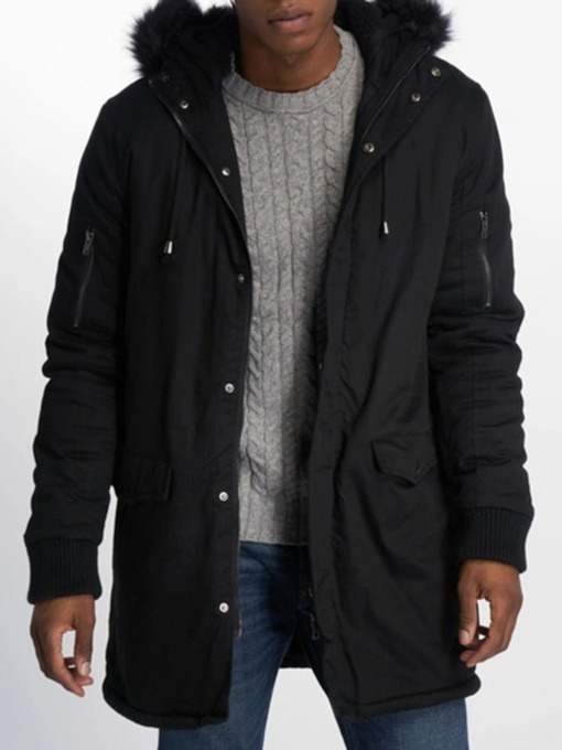 Plain Zipper Hooded Mid-Length Casual Men's Down Jacket