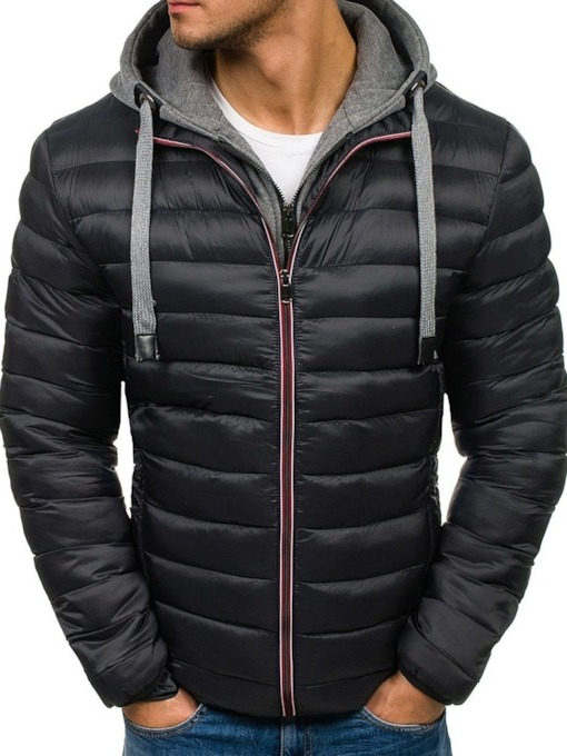 Zipper Hooded Standard European Men's Down Jacket