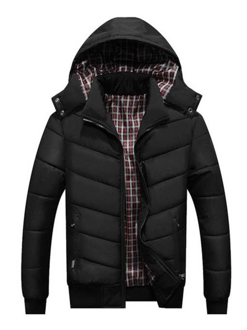 Hooded Standard Zipper Plaid Men's Down Jacket