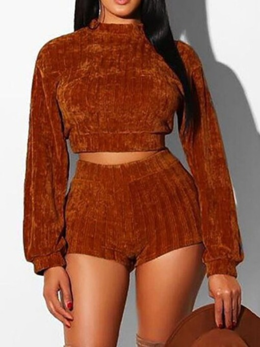 Casual Plain Pullover Short Women's Two Piece Sets