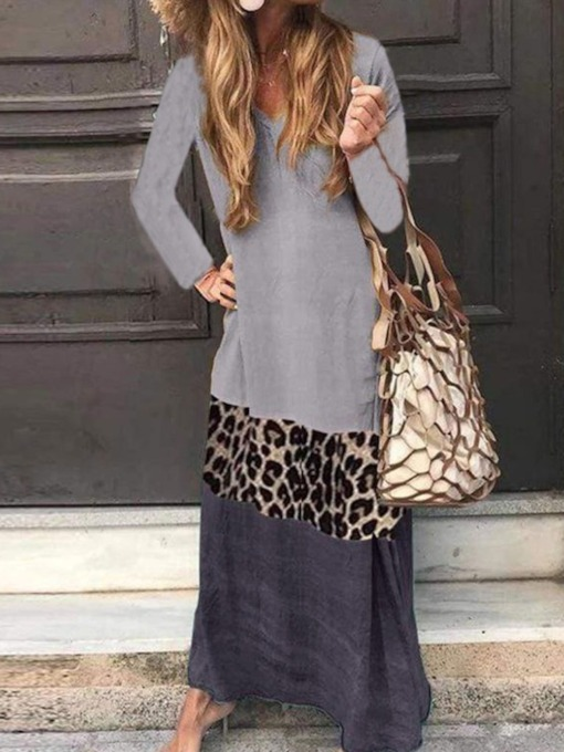 Ankle-Length Feather Long Sleeve V-Neck Fall Women's Dress