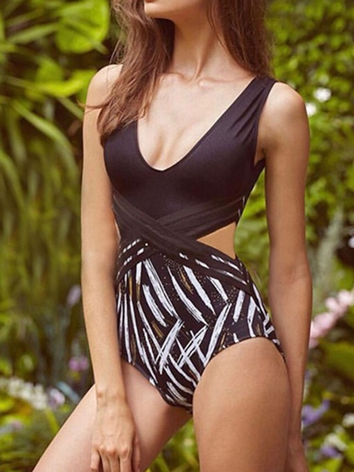 Sexy One Piece Color Block Print Swimwear