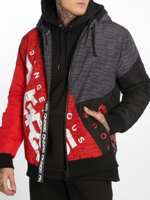 Color Block Standard Zipper Hooded Casual Men's Down Jacket