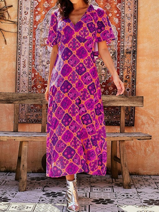 Short Sleeve V-Neck Print Mid-Calf High Waist Women's Maxi Dress