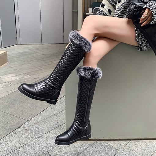 Plush Side Zipper Round Toe Women's Knee High Boots