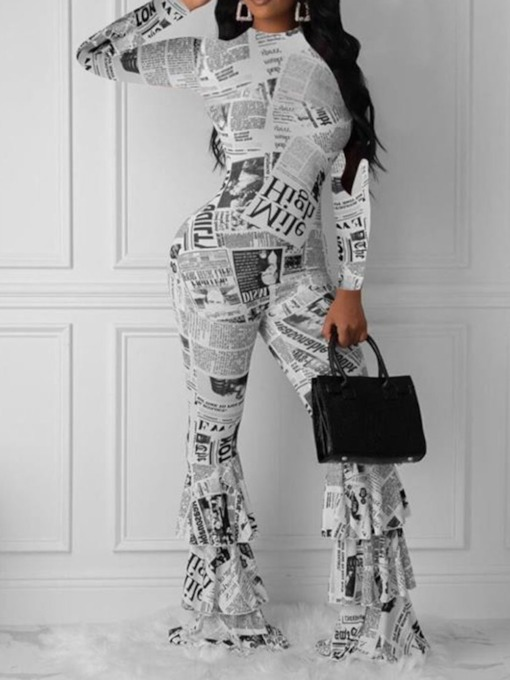 Casual Full Length Color Block Print High Waist Women's Jumpsuit