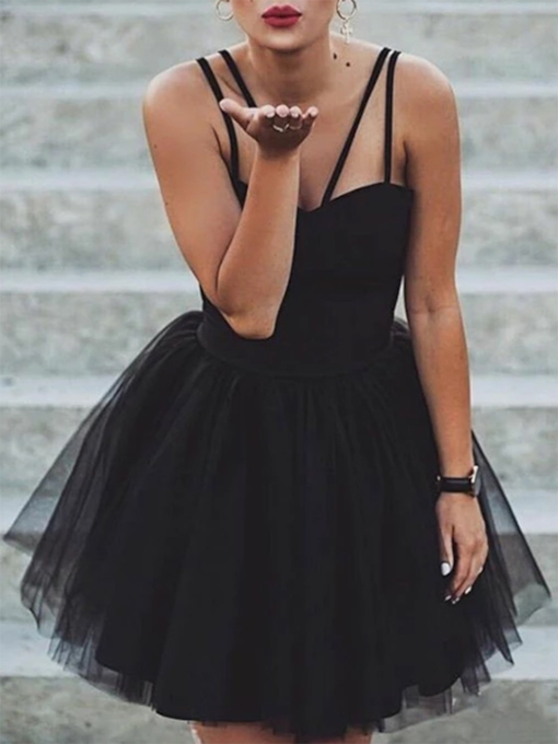 A-Line Spaghetti Straps Short Black Cocktail Dress