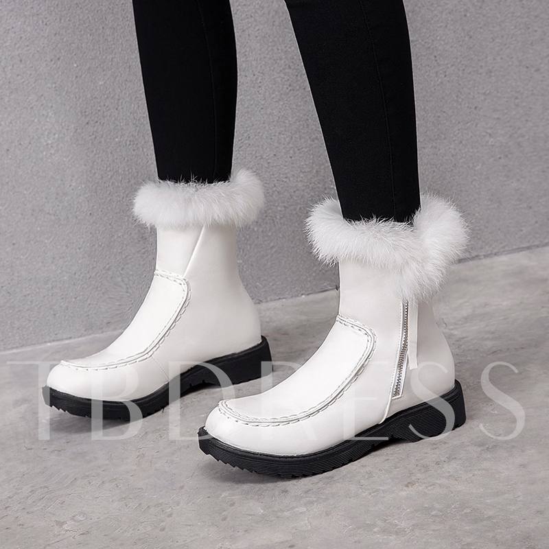 Plain Round Toe Side Zipper Casual Snow Boots