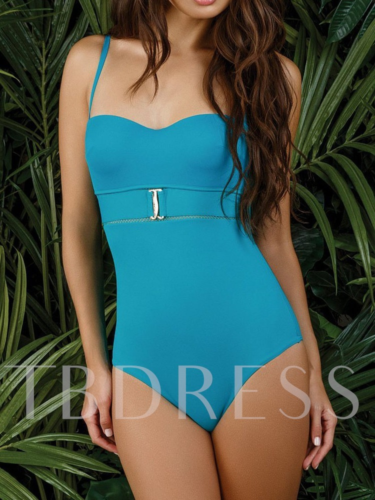 Sexy Patchwork One Piece Plain Women's Swimwear