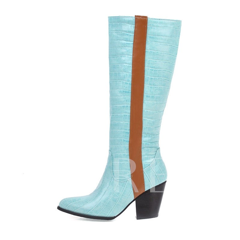 Slip-On Chunky Heel Color Block Pointed Toe Knee High Boots