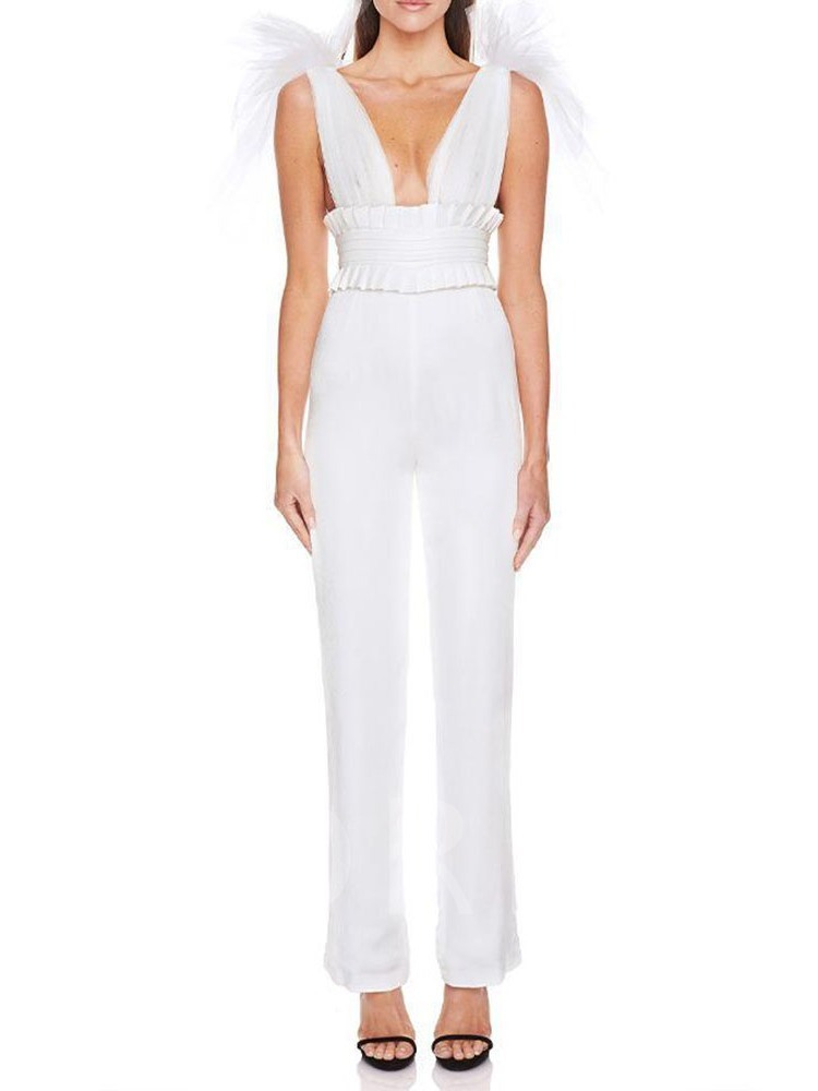 Sexy Mesh Full Length Plain High Waist Women's Jumpsuit