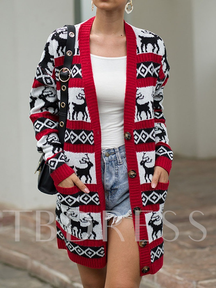 Christmas Regular Thin Single-Breasted Mid-Length Women's Cardigan