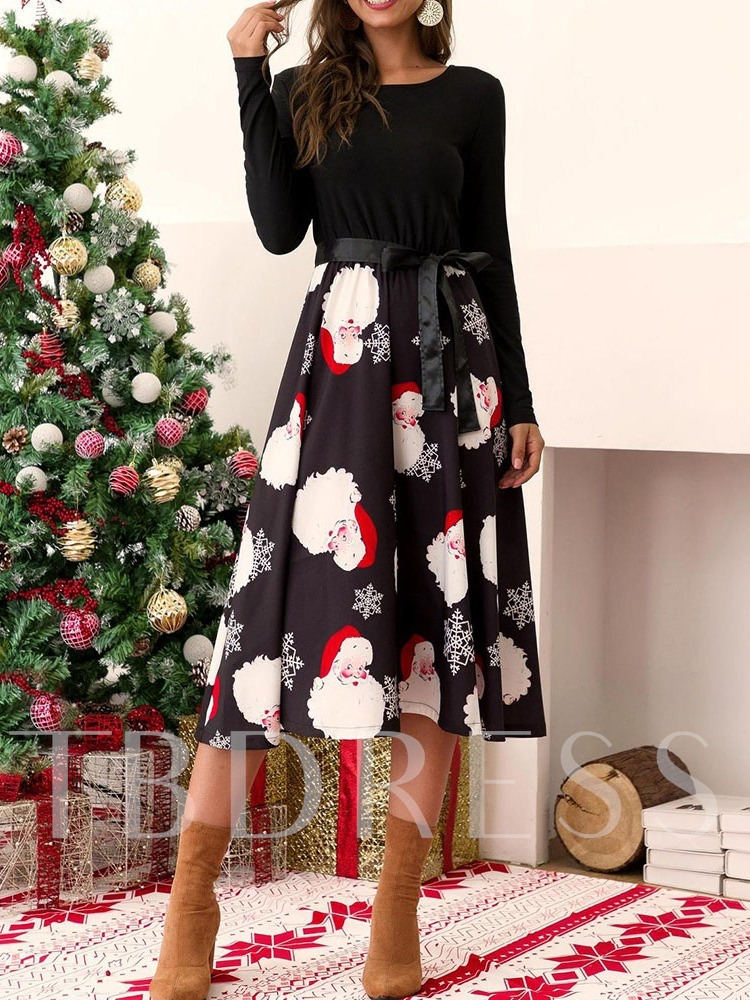 Christmas Decorations Round Neck Long Sleeve Patchwork Mid-Calf Fall Women's Dress