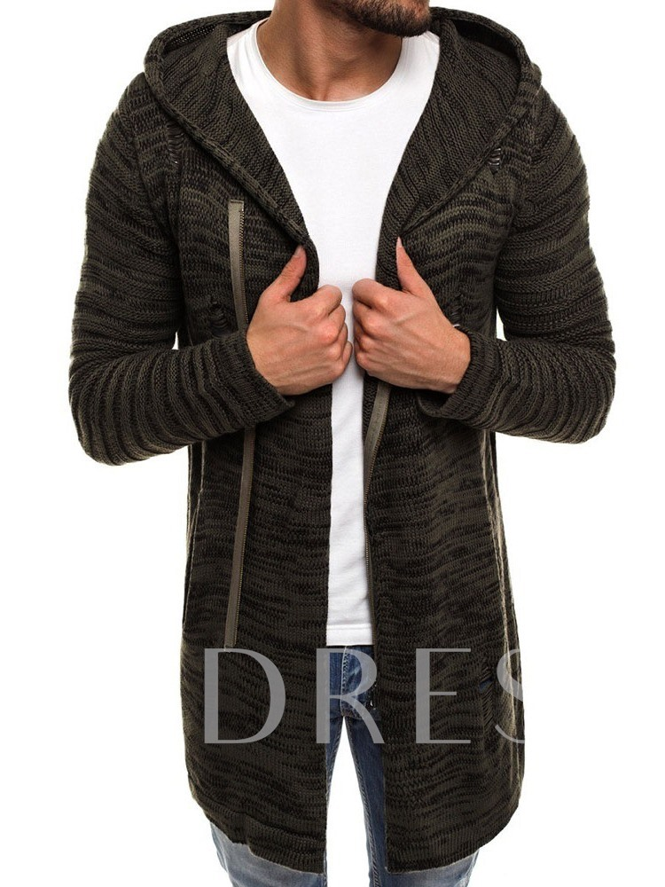 Zipper Hooded Plain Mid-Length Straight Men's Sweater