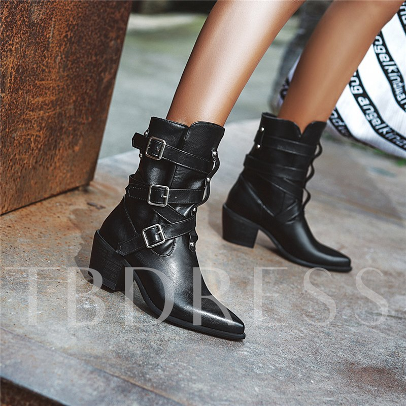 Plain Hasp Chunky Heel Pointed Toe Buckle Ankle Boots