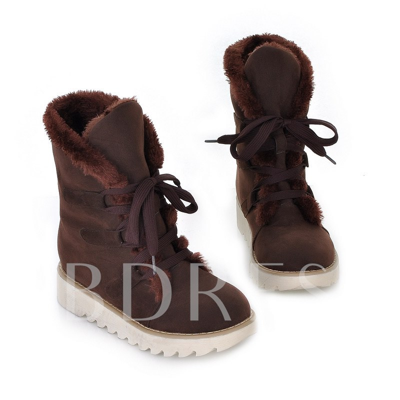 Lace-Up Front Round Toe Winter Women's Snow Boots