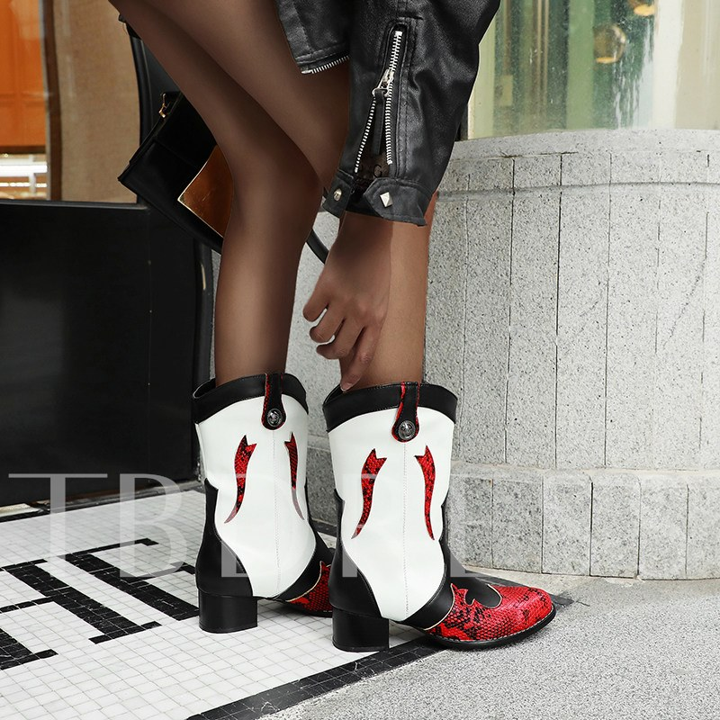 Slip-On Color Block Round Toe Vintage Ankle Boots