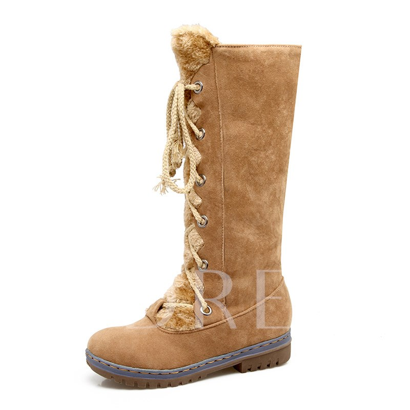 Round Toe Plain Lace-Up Front Women's Mid Calf Boots
