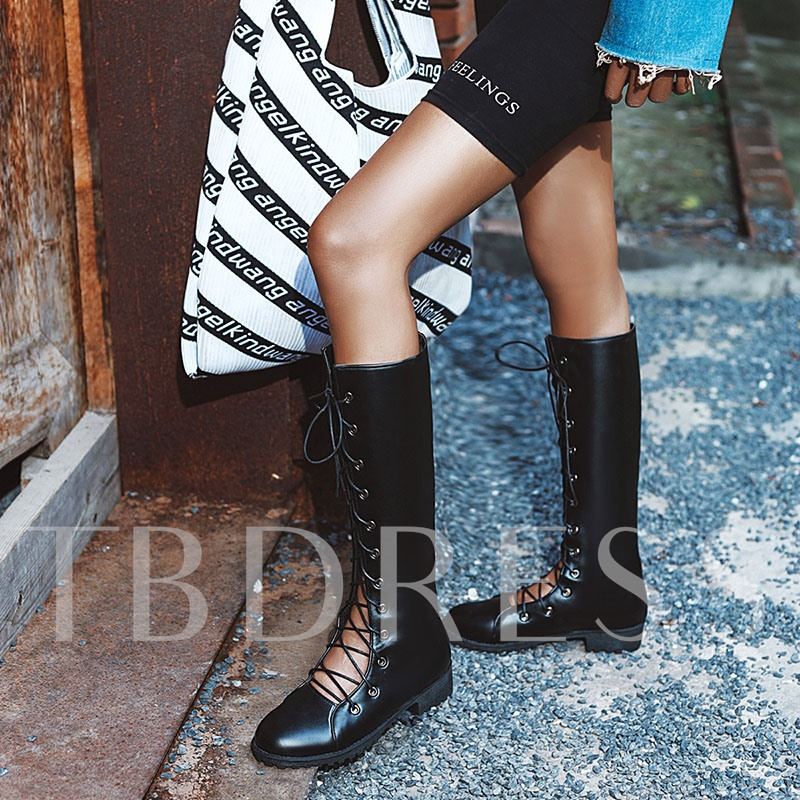 Round Toe Lace-Up Front Women's Knee High Boots