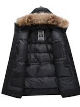 Mid-Length Hooded Color Block Men's Down Jacket