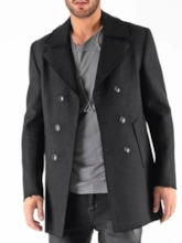 Button Plain Mid-Length Double-Breasted Men's Slim Coat