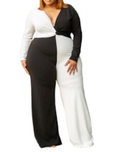 Plus Size Color Block Casual Full Length High Waist Women's Jumpsuit