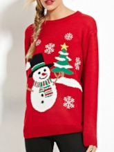 Thin Embroidery Regular Long Sleeve Christmas Women's Sweater