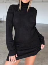 Above Knee Long Sleeve Turtleneck Pullover Women's Sweater Dress