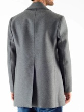Button Mid-Length Plain Men's Coat
