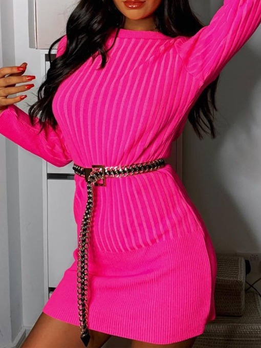 Round Neck Above Knee Long Sleeve Casual Women's Sweater Dress