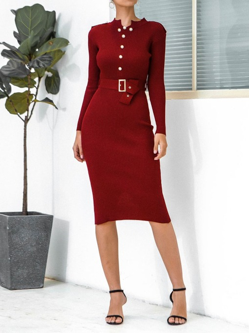 Mid-Calf Long Sleeve Belt Stand Collar Bodycon Women's Sweater Dress