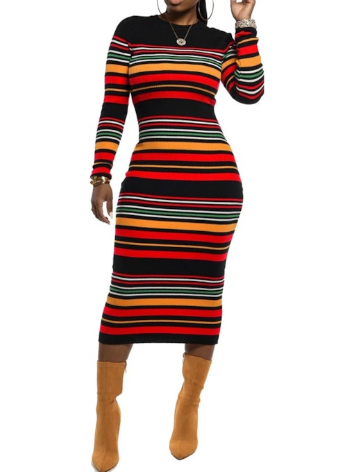 Print Mid-Calf Long Sleeve Round Neck Sheath Women's Sweater Dress
