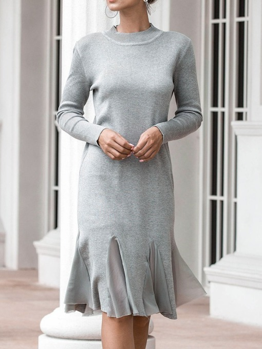 Patchwork Long Sleeve Round Neck Knee-Length Pullover Women's Sweater Dress