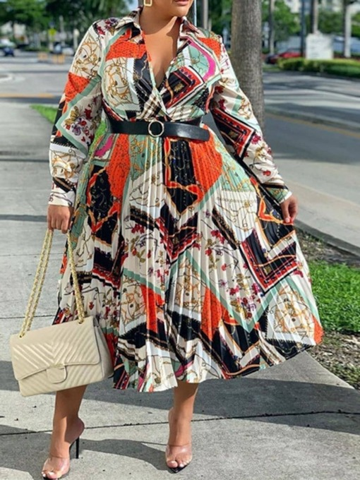 Plus Size Mid-Calf Long Sleeve Print Lapel High Waist Women's Dress
