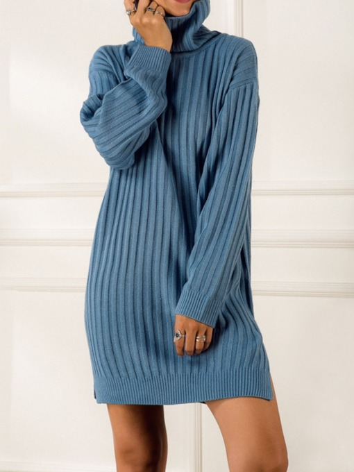 Above Knee Split Long Sleeve Turtleneck Regular Women's Sweater Dress