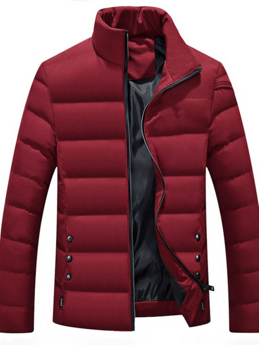Color Block Zipper Stand Collar Standard European Men's Down Jacket