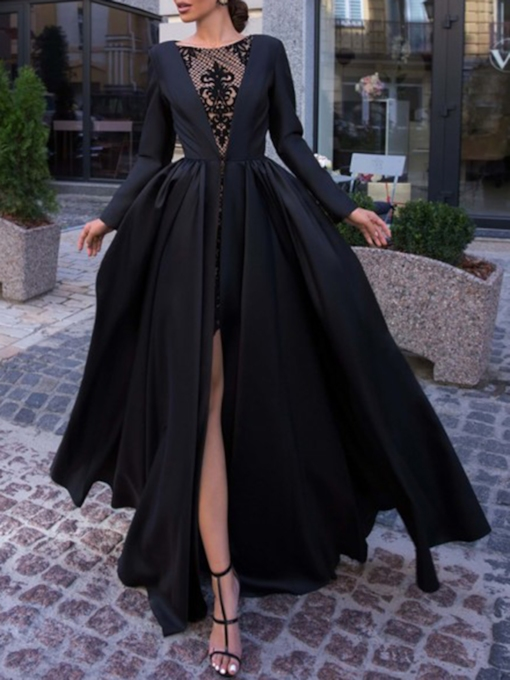 Long Sleeves Lace Halloween Evening Dress