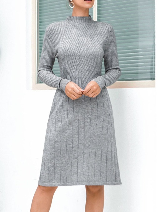 Stand Collar Long Sleeve Knee-Length Regular Women's Sweater Dress