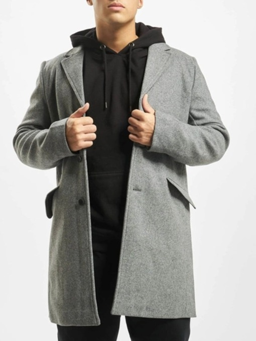 Mid-Length Plain Button A Line Men's Coat