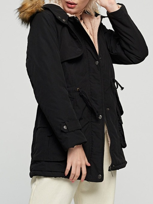 Single-Breasted Pocket Loose Mid-Length Women's Cotton Padded Jacket