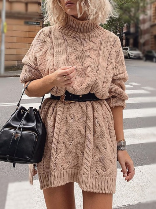 Turtleneck Split Above Knee Long Sleeve Regular Women's Sweater Dress