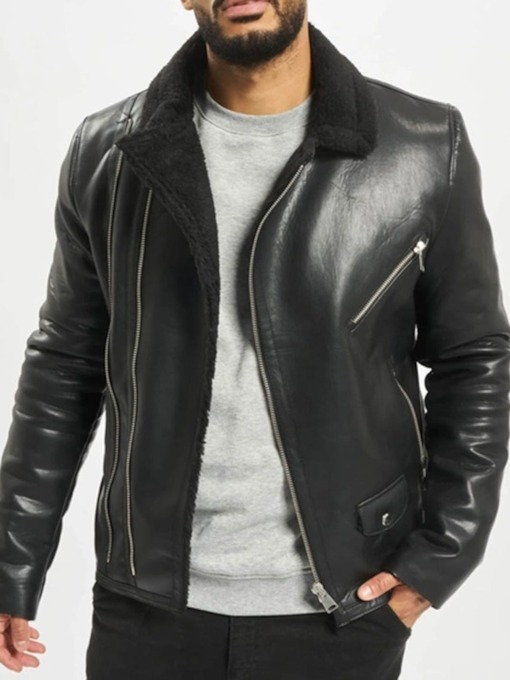 Lapel Plain Zipper Slim Men's Jacket