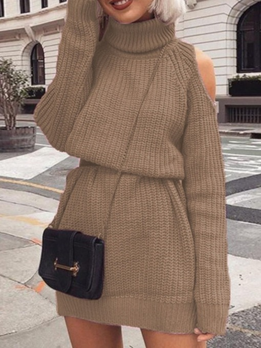 Above Knee Hollow Turtleneck Long Sleeve Pullover Women's Sweater Dress