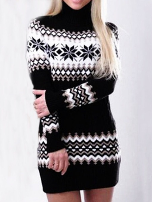 Patchwork Turtleneck Above Knee Long Sleeve Casual Women's Sweater Dress