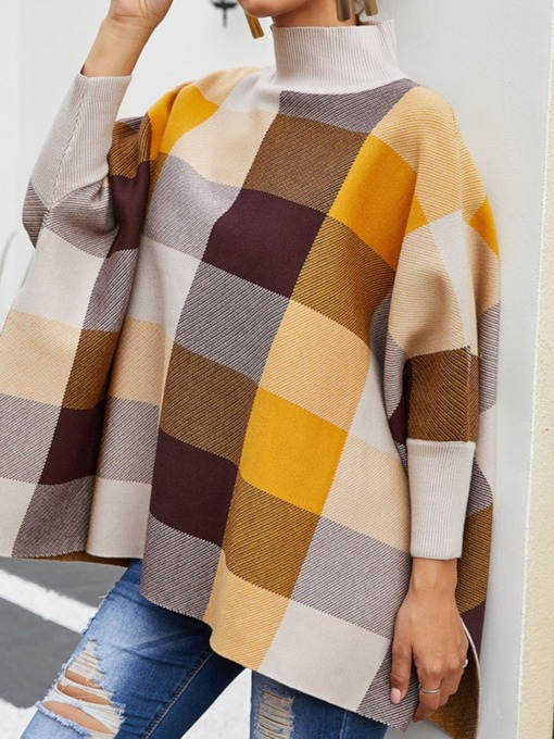 Western Polyester Color Block Herbst Damen Cape