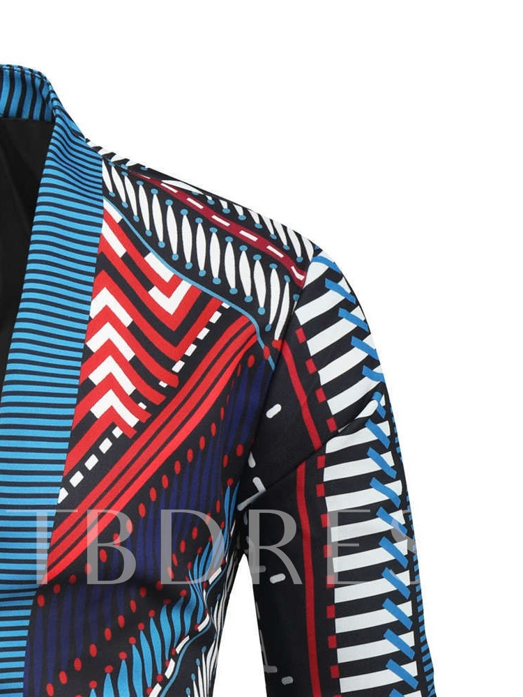Color Block Print Stand Collar Casual Men's Jacket