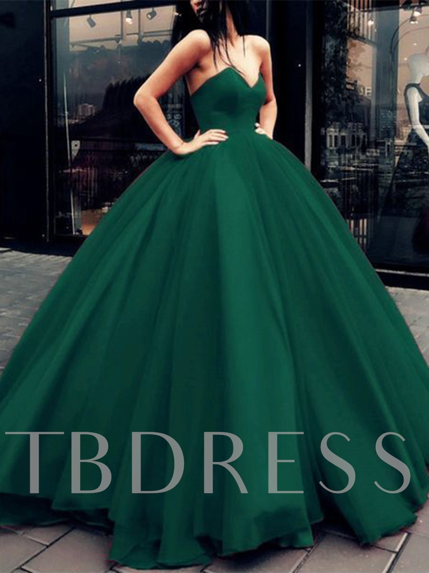 V-Neck Organza Lace-Up Ball Gown Evening Dress